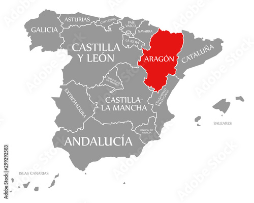 Canvas Print Aragon red highlighted in map of Spain