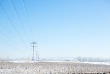 Winter Industrial Landscape High-voltage Lines