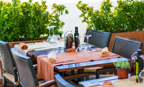 Served table at summer terrace cafe at the beach Canvas Print