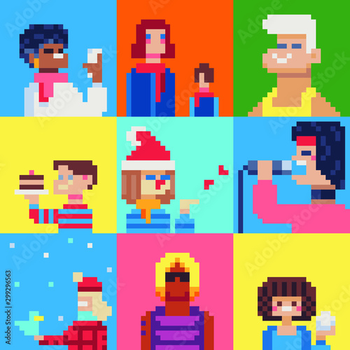Fotobehang Pixel People characters pixel art set. selfie, mom, man, boy's cake, singer, boy and girl Isolated vector illustration. Game assets 8-bit sprite. Design for stickers, web, mobile app.