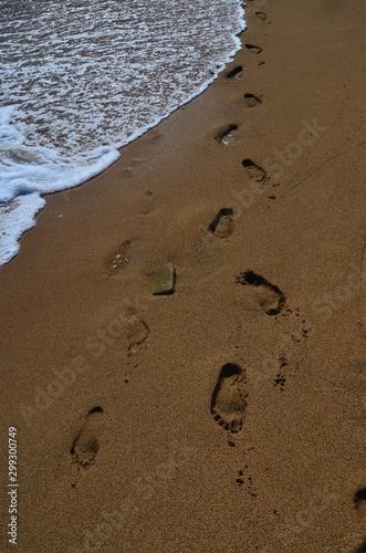 Fotografie, Obraz  Ślady stóp na piaszczystej plaży