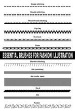 Brushes For Fashion Illustration. Single Stitching, Double Stitching, Thick Thread Stitching, Zig-zag, Overlock, Chain, Blanket Stitching, Rib, Cord, Zip And Pucker.