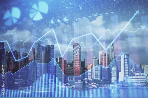 Fototapeta Forex chart on cityscape with skyscrapers wallpaper multi exposure. Financial research concept. obraz