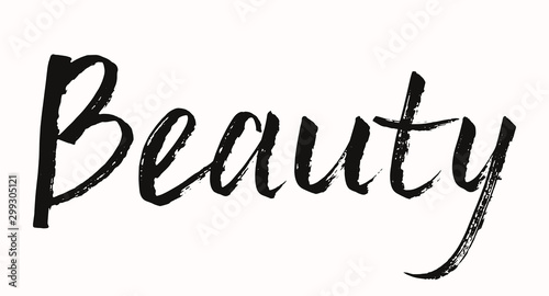 Fototapety, obrazy: Beauty sign. Black hand drawn lettering. Calligraphic text