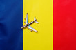 Leinwanddruck Bild - Airplane over the flag of Romania travel and tourism concept.
