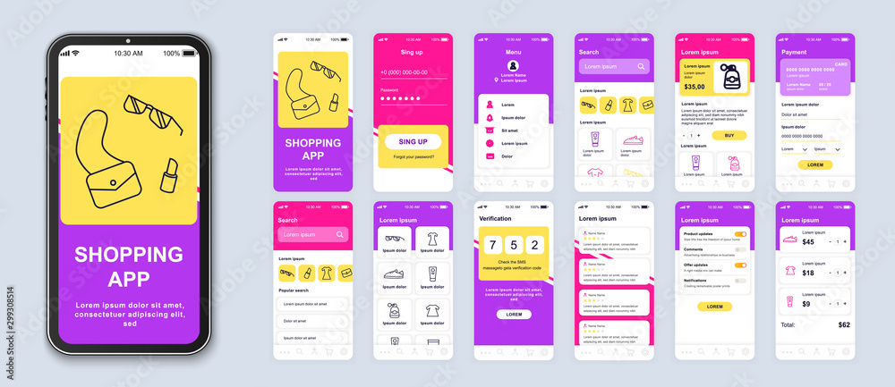 Fototapeta Shopping app smartphone interface vector templates set. Online clothes store web page design layout. Pack of UI, UX, GUI screens for application. Phone display. Mobile shop web design kit