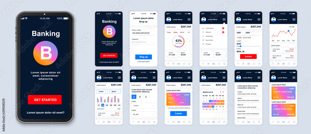 Fototapeta Mobile banking app smartphone interface vector templates set. Financial services online web page design layout. Pack of UI, UX, GUI screens for application. Phone display. Web design kit