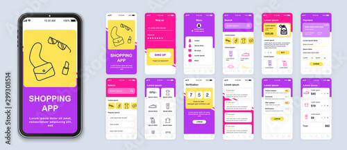 Foto op Canvas Wild West Shopping app smartphone interface vector templates set. Online clothes store web page design layout. Pack of UI, UX, GUI screens for application. Phone display. Mobile shop web design kit