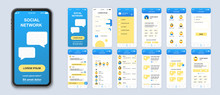 Social Network Mobile App Interface Design Vector Templates Set. Online Chatting. Internet Communication. Web Page Design Layouts Kit. Pack Of UI, UX, GUI Screens For Application. Phone Display