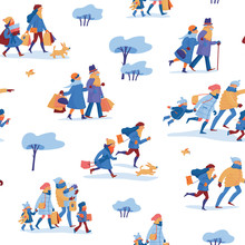 Winter Sale Seamless Pattern With Family Of Four, Friends And Elder Couple In Warm Clothes Before And After Shopping, Hurrying To A Shop And Carrying Shopping Bags, White Background