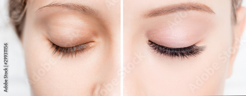 Photo Eyelash extensionl procedure before and after