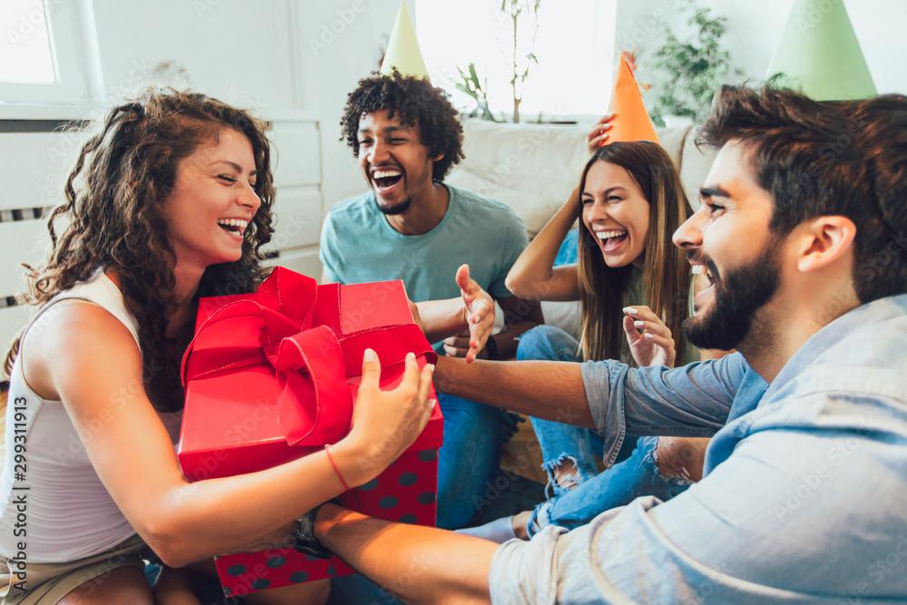 Fototapety, obrazy: Young group of happy friends celebrating birthday