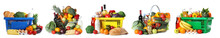 Set Of Shopping Baskets With Grocery Products On White Background