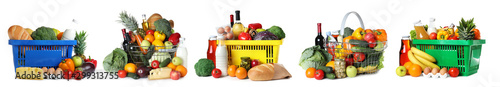 Fotografía Set of shopping baskets with grocery products on white background