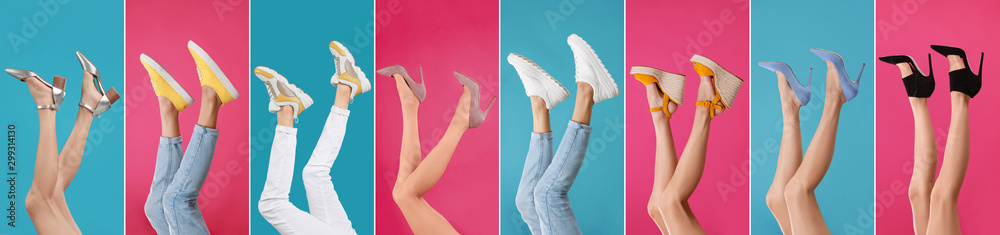 Fototapety, obrazy: Collage of women wearing different stylish shoes on color backgrounds, closeup