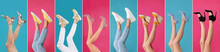 Collage Of Women Wearing Different Stylish Shoes On Color Backgrounds, Closeup