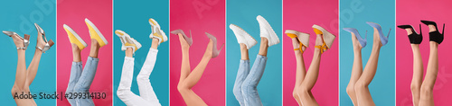Autocollant pour porte Roses Collage of women wearing different stylish shoes on color backgrounds, closeup