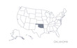 High detailed vector map - United States of America. Map with state boundaries. Oklahoma vector map silhouette
