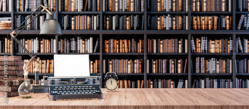 Fotografia  Office desk with old typewriter and Bookshelves in the library with old books 3d