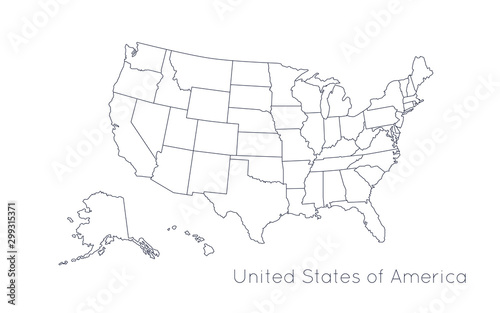 Fotomural  High detailed vector map - United States of America