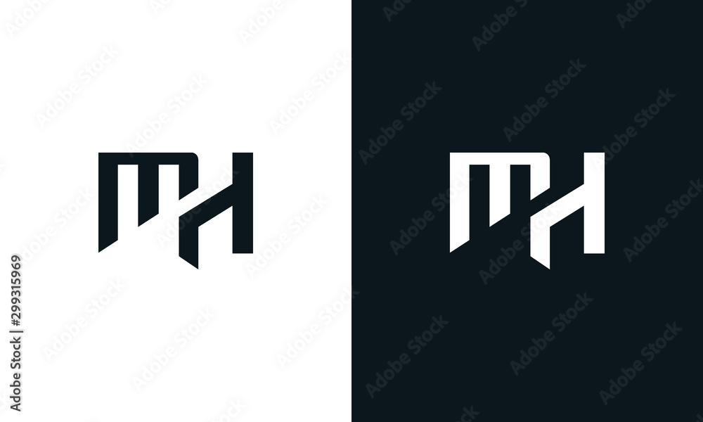 Fototapety, obrazy: Abstract letter MHlogo. This logo icon incorporate with two abstract shape in the creative process.