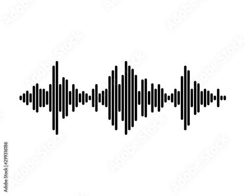 Music wave symbol. Black equalizer pulse music player logo Canvas Print