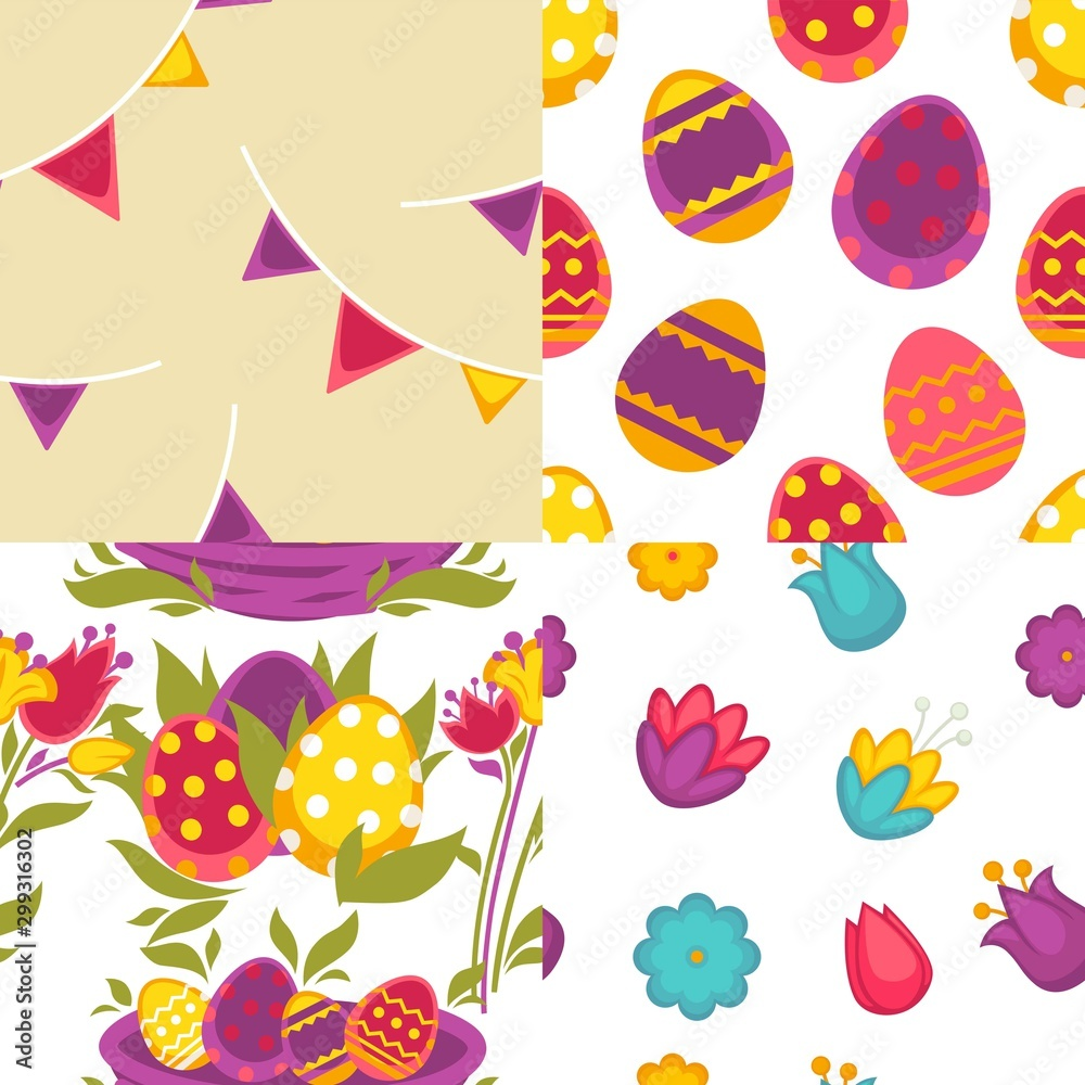 Fototapety, obrazy: Eggs and flowers Easter seamless patterns spring holiday vector