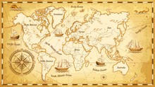 Ancient World Map Ships And Continents Compass Marine Navigation