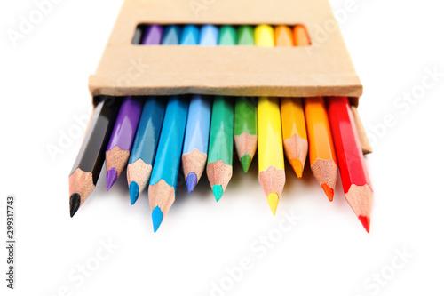 Obraz na płótnie Box of color pencils on white background