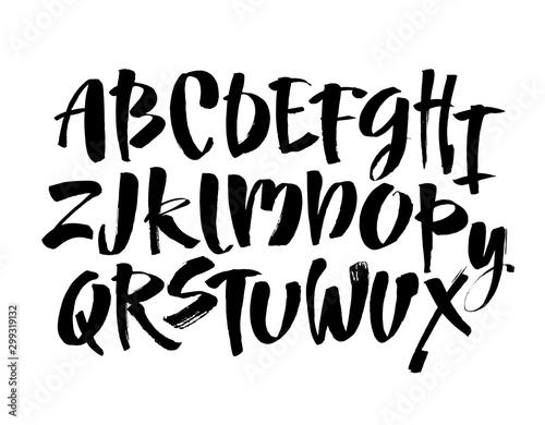 Pinturas sobre lienzo  Vector Acrylic Brush Style Hand Drawn Alphabet Font
