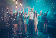 Full Length Body Size View Of Nice Attractive Luxurious Smart Stylish Trendy Cheerful Cheery Glad Guys Crowd Having Fun Time Amusement Festive Nightlife At Fashionable Modern Nightclub Indoors