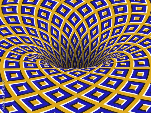 Fototapeta premium Obrotowy otwór z ruchomymi niebieskimi żółtymi kwadratami ornament. Tło wektor złudzenie optyczne.