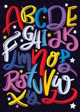 Hand Drawn Typeface Set . Brus...