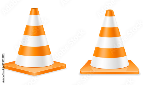 Fotografie, Obraz  plastic traffic cone to limit traffic transport stock vector illustration