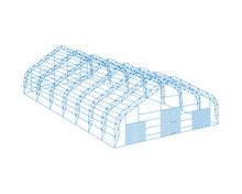Awning Tarpaulin Tent Temporary Warehouse Exhibition Tunnel Hall Aircraft Hangar Project. Barn Construction Building Wireframe Carcass. Clear Cut Frame. Vector Isometric Illustration
