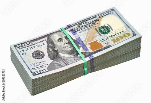 Valokuvatapetti New design dollar bundles on white background including clipping path