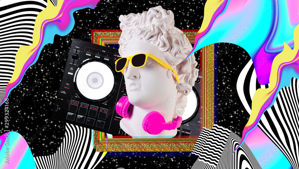 Fototapety, obrazy: Apollo in headphones and sunglasses on a cosmic background. Concept art collage. Poster design.