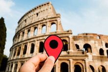 Red Marker At The Colosseum In...