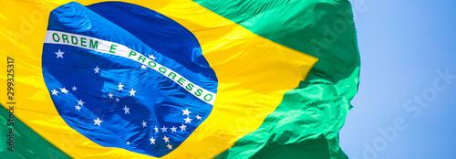 Fototapeta Bandeira do Brasil ao vento