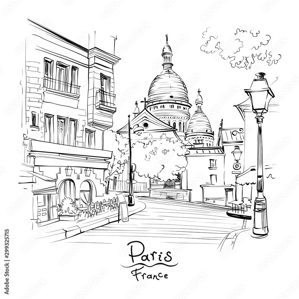 Fototapeta Vector black and white sketch of the Place du Tertre and the Sacre-Coeur, quarter Montmartre in Paris, France