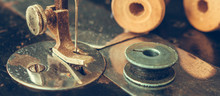 Old Retro Sewing Machine And D...