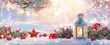 canvas print picture Christmas Lantern On Snow With Fir Branch in the Sunlight