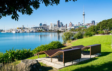 Wooden Benches In Waterfront Park (near Harbour), With A Stunning View Of Downtown Auckland- Auckland, New Zealand