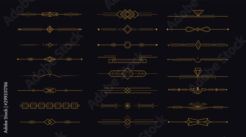 Leinwand Poster  Golden art deco divider header set