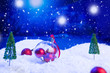 canvas print picture - Christmas background with Christmas balls on snow over fir-tree, night sky and moon. Shallow depth of field. Christmas background. Fairy tale. Macro. Artificial magic dreamy world.