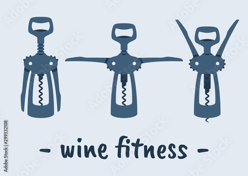 Fotografía  Vector different positions of corkscrew.  Wine Fitness.