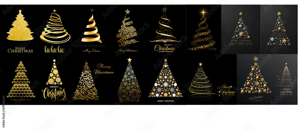 Fototapety, obrazy: set of christmas trees isolated on black background. Vector illustration