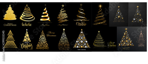 set of christmas trees isolated on black background. Vector illustration - 299333345