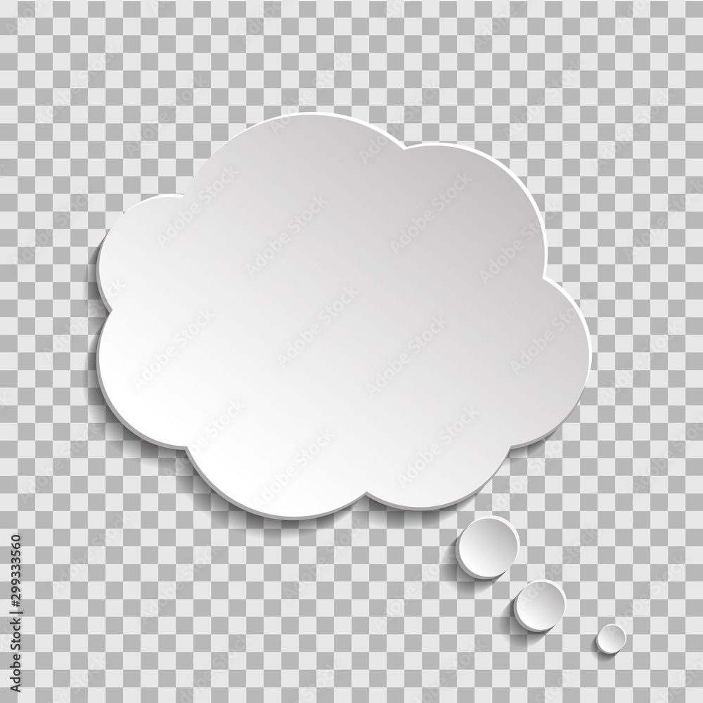 Fototapeta Bubble of think on transparent background. Cloud message for text, comic. Fun speech bubble on isolated background. White cloud of think. vector illustartion