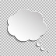 Bubble of think on transparent background. Cloud message for text, comic. Fun speech bubble on isolated background. White cloud of think. vector illustartion